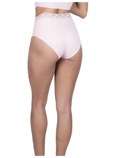 Cottonhill Vişne Desenli Lastikli Yüksek Bel Lazer Kesim Kadın Bikini Külot Pudra